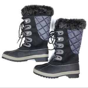 Totes Snow Rain Winter Tall Boot Black Gray